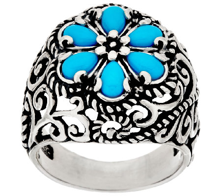 Carolyn Pollack Sleeping Beauty Turquoise Cluster Design Signature Ring