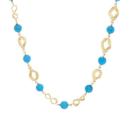 """As Is"" VicenzaGold 18"" Turquoise & Diamond Cut Link Necklace"