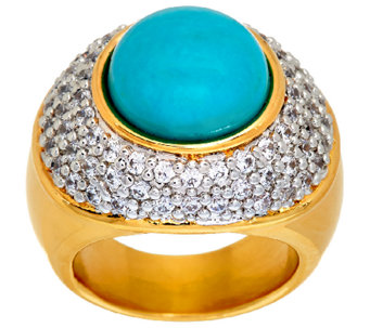 Oro Nuovo Gemstone Cabochon & Pave' Crystal Ring, 14K - J321501