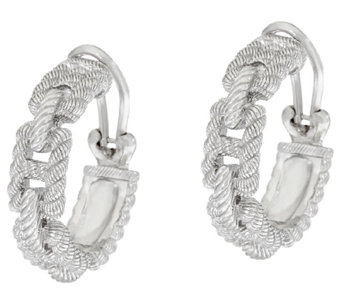 Judith Ripka Sterling Status Link Hoop Earrings - J323201
