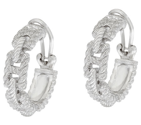 Judith Ripka Sterling Status Link Hoop Earrings