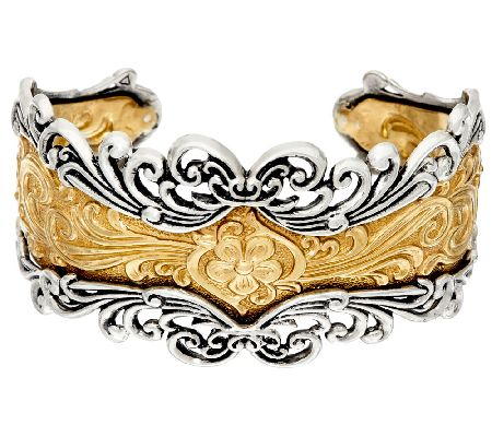 American West SterlingBrass Bold Ornate Design Cuff Page 1 QVCcom