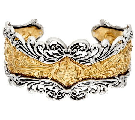 Sterling/Brass Bold Ornate Design Cuff by American West