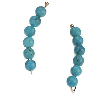 Turquoise Bead Ear Climber Earrings 14K Gold
