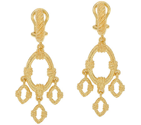 Judith Ripka Sterling & 14K Clad Textured Drop Earrings