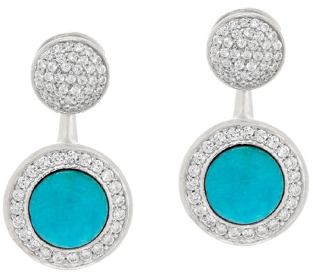 Vicenza Silver Sterling Crystal Stud w/Turquoise Earring Jackets