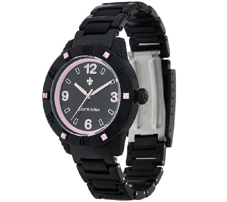 Judith Ripka Black Athena Watch w/ Color Diamonique Accents