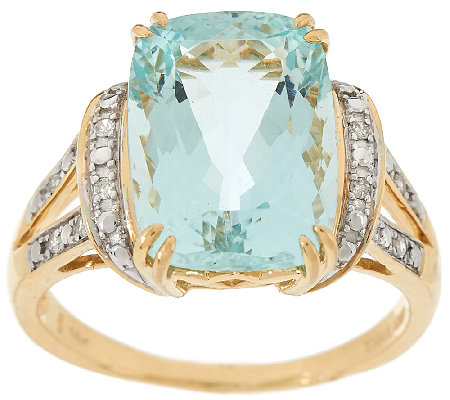 """As Is"" Premier 6.00ct Aquamarine & Diamond Ring 14K Gold"
