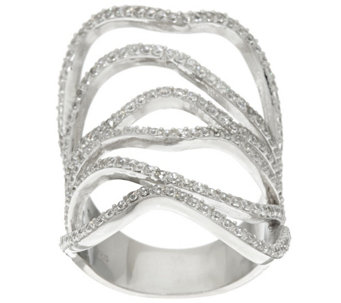 """As Is"" Vicenza Silver Sterling Wide Free-Form Crystal Ring - J327301"