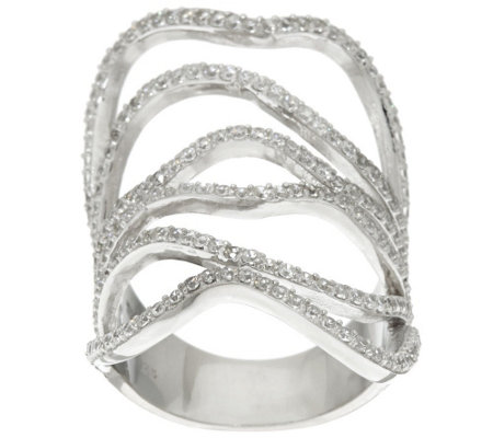 """As Is"" Vicenza Silver Sterling Wide Free-Form Crystal Ring"