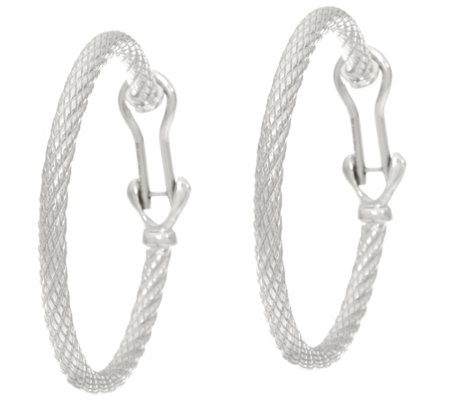"Judith Ripka Sterling 1-1/2"" Verona Rope Berge Hoop Earrings"
