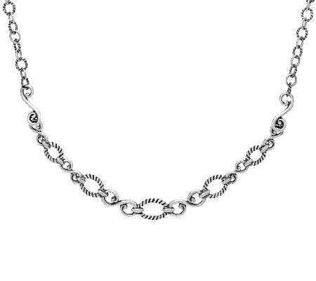 Carolyn Pollack Sterling Silver Signature Status Design Necklace