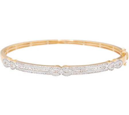 Baguette Diamond Average Bangle, 14K Gold, 3/4 cttw, by Affinity