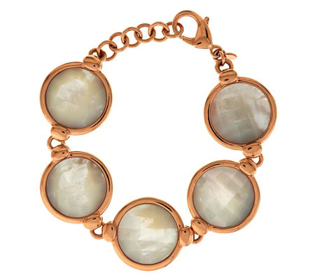 """As Is"" Honora Reversible Mother-of-Pearl Adjustable Bronze Bracelet"