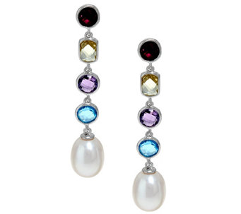 Honora Cultured Pearl 9.0mm & Multi-gemstone Sterling Drop Earrings - J329101