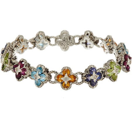 "Barbara Bixby Sterling & 18K 7.30 cttw Gemstone Flower 6-3/4"" Bracelet"