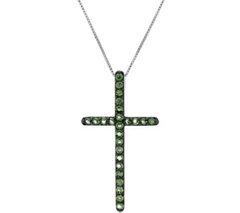 Exotic Gemstone Sterling Silver Cross Pendant on Chain, 0.75 cttw - J329401