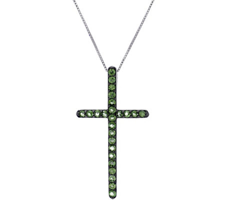 Exotic Gemstone Sterling Silver Cross Pendant on Chain, 0.75 cttw