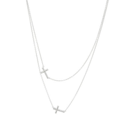 Cross Diamond Necklace, Sterling, 1/10 cttw, by Affinity