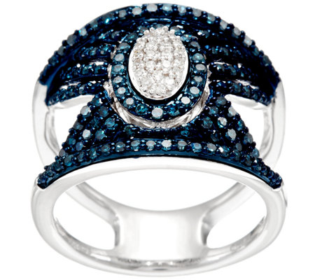 Blue & White Pave' Diamond Ring, Sterling, 3/4 cttw, by Affinity