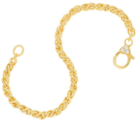 Judith Ripka Verona 14K Clad Twisted Cable Bracelet 13.0g