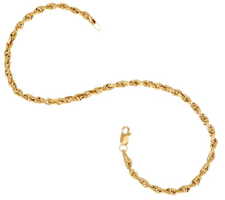 """As Is"" 14K 8"" Diamond Cut Rope Chain Bracelet"
