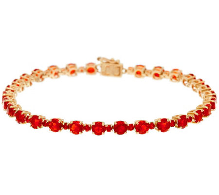 """As Is"" Red Fire Opal 7-1/4"" Tennis Bracelet 14K, 4.60 cttw"