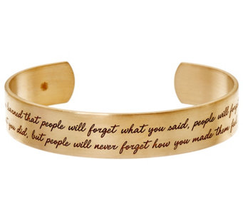 "Maya Angelou ""I've Learned"" Goldtone Cuff by Dogeared - J334201"