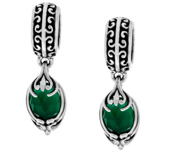 """As Is"" Carolyn Pollack Sterling Set of 2 Green Agate Beads - J334501"