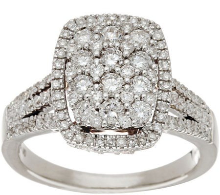 Cushion Cluster Design Diamond Ring, 14K, 1.00 cttw, by Affinity