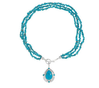 "American West Kingman Turquoise Enhancer w/ 20""Bead Necklace - J336501"