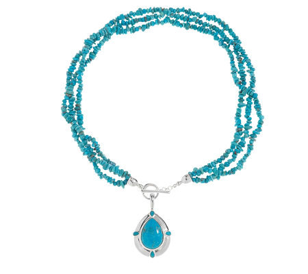 "American West Kingman Turquoise Enhancer w/ 20""Bead Necklace"