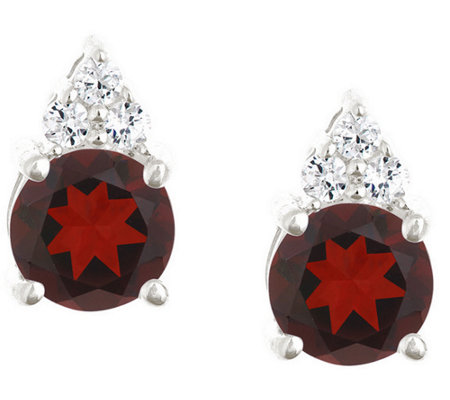 Premier 1.60cttw Round Garnet & Diamond Earrings, 14K