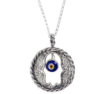 Or Paz Sterling Evil Eye Hamsa Round Pendant w/Chain - J338301