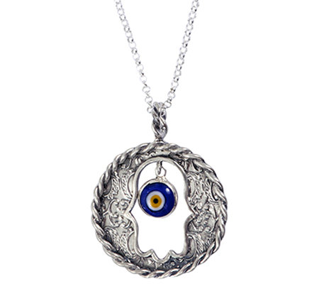 Or Paz Sterling Evil Eye Hamsa Round Pendant w/Chain