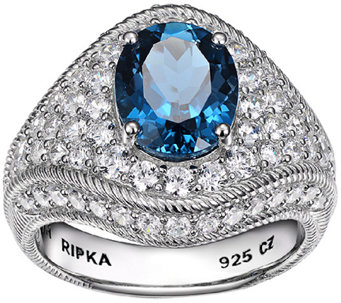 Judith Ripka Sterling London Blue Topaz & Diamo nique Ring - J338501