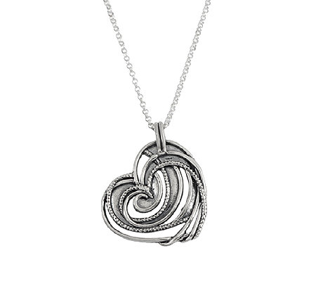 Sterling Silver Openwork Heart Pendant w/ Chainby Or Paz