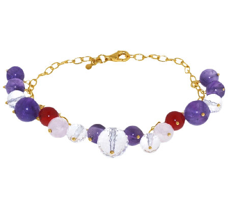 Sterling & 14K Gold-Plated Gemstone Bead CharmBracelet