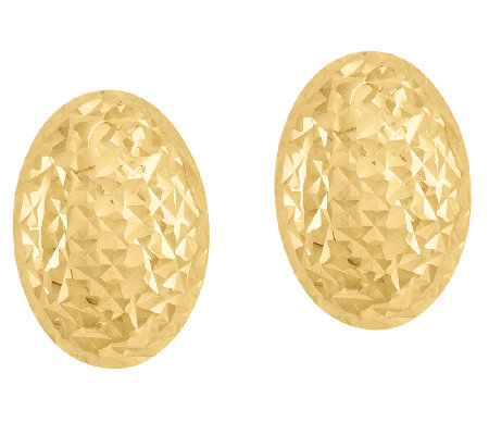 Polished and Diamond-Cut Oval Bead Earrings, 14K Gold