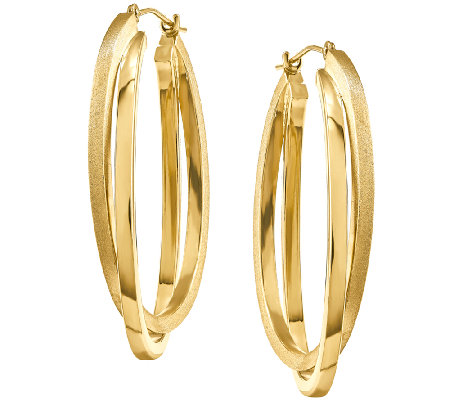 Satin and Polished Oval Hoop Earrings, 14K Gold