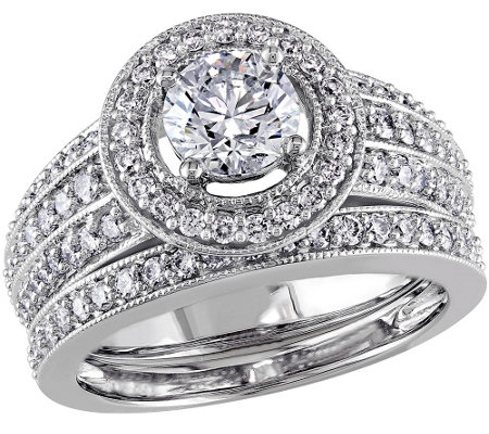 Round Halo Diamond Ring Set, 1.45cttw, 14K Gold, by Affinity