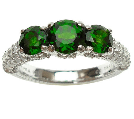 Judith Ripka Sterling Chrome Diopside and Diamonique Ring