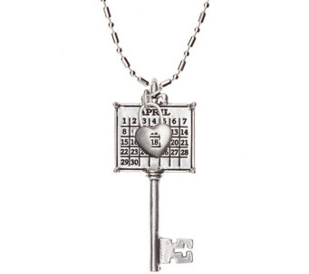 Personalized Silvertone Calendar Key to MyHeart Necklace - J341301