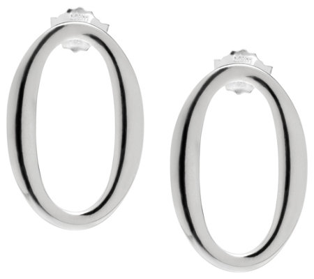 UltraFine Silver Polished Oval Drop Earrings