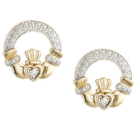 Solvar 1/10 cttw Diamond Claddagh Earrings 1 4KGold