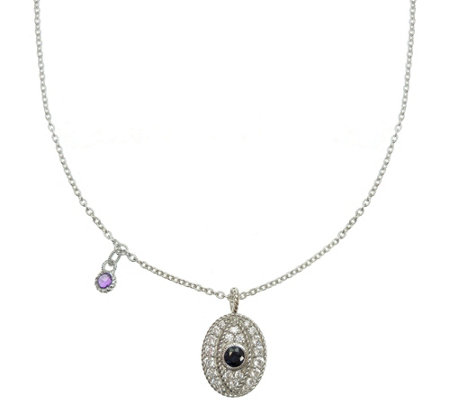 Judith Ripka Sterling Gemstone & Diamonique Evil Eye Necklace