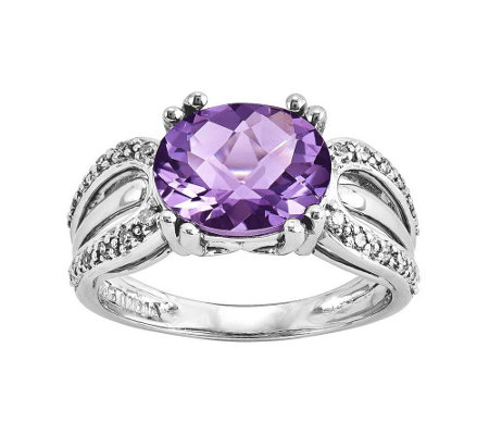 Sterling 2.00 ct Amethyst and 1/10 cttw Diamond Ring