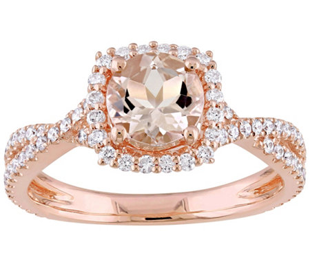 1.00 ct Morganite & 1/2 cttw Diamond Ring, 14KRose Gold