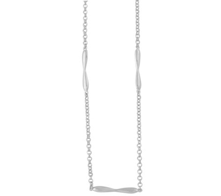 Sterling Curved Bar Station Necklace by Silver Style