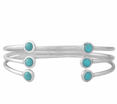Sterling Turquoise Triple Row Cuff Bracelet